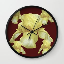 PALE YELLOW IRIS ON BURGUNDY COLOR Wall Clock