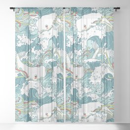 Whales and waves pattern Sheer Curtain