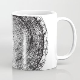 Detailed black and white reclaimed wood tree with circle growth rings pattern Coffee Mug