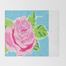 Watercolor Rose - Ocean Throw Blanket