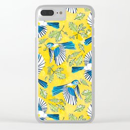 Flying Birds and Oak Leaves on Yellow Clear iPhone Case