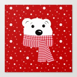 Muzzle of a polar bear on a red background. Canvas Print