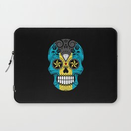Sugar Skull with Roses and Flag of Bahamas Laptop Sleeve