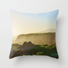 Beach Cliffs in the Clouds Throw Pillow