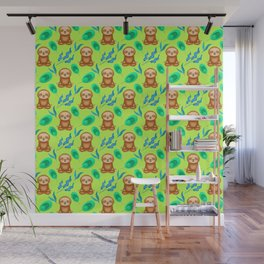 Funny cute happy cross-legged meditating relaxed chilling sloths and tropical rainforest exotic gree Wall Mural