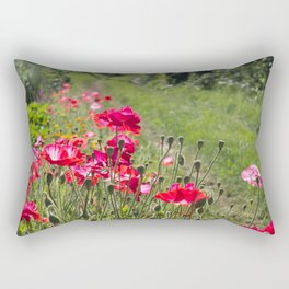 Beautiful poppy seed flowers on the path, summer day Rectangular Pillow