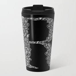 Cherry Blossom R Black Metal Travel Mug