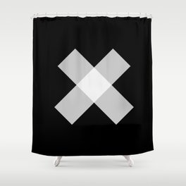 X - Black and White Art - Abstract Shower Curtain