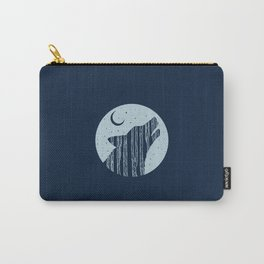 Midnight Blue Woodland Night Wolf Carry-All Pouch
