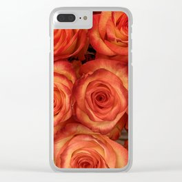 Red color rose flowers pattern Clear iPhone Case