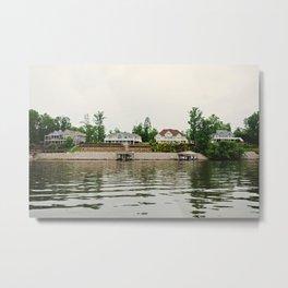 4 Houses on a Lake Metal Print