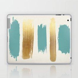 Brush Strokes (Teal/Gold) Laptop & iPad Skin