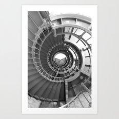 Gray's Harbor Lighthouse Stairwell Spiral Architecture Washington Nautical Coastal Black and White Art Print
