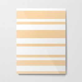 Mixed Horizontal Stripes - White and Sunset Orange Metal Print