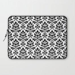 Feuille Damask Pattern Black on White Laptop Sleeve