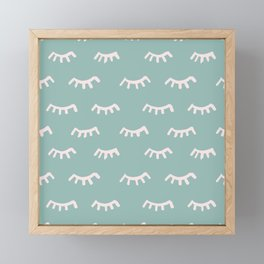 Mint Sleeping Eyes Of Wisdom - Pattern - Mix & Match With Simplicity Of Life Framed Mini Art Print