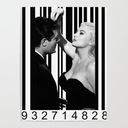 Mastroianni and Ekberg inside a barcode Poster