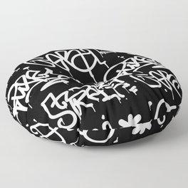 Black and White Graffiti Floor Pillow