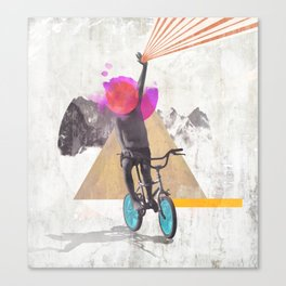 Rainbow child riding a bike Canvas Print