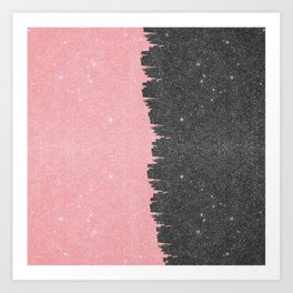 Pretty Girly Pink Black Faux Glitter Brushstroke Art Print
