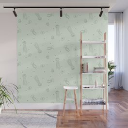 Jellyfish in Green Wall Mural