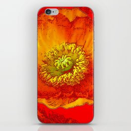 RED-ORANGE-YELLOW ABSTRACTED POPPY FLORAL iPhone Skin