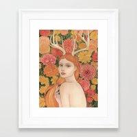 dahlia Framed Art Prints featuring Dahlia by Marcela Badolatto
