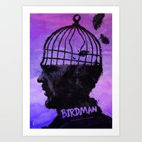 birdman Art Prints featuring Birdman  by Dan K Norris