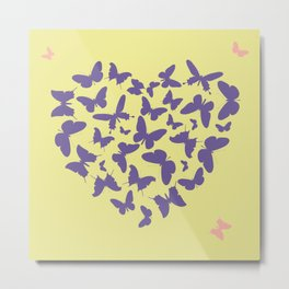 Ultra violet heart shape made from butterfly silhouettes. Metal Print