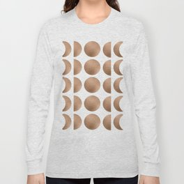 Rose Gold Moon Phase Pattern Long Sleeve T-shirt