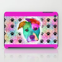 pit bull iPad Cases featuring Love is a pit bull by Shay by design