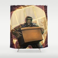 frankenstein Shower Curtains featuring Frankenstein by MonsterBox