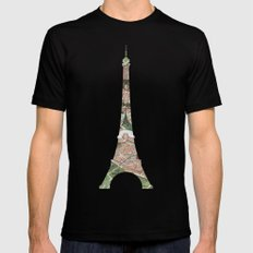 Paris Map Black 2X-LARGE Mens Fitted Tee