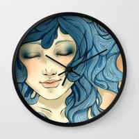 aqua Wall Clocks featuring Aqua by saravidigal