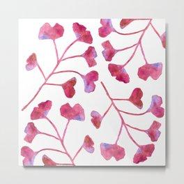 Ginkgo Leaves Watercolor Raspberry Pink on white Metal Print