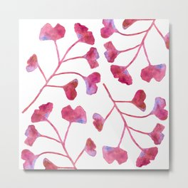 Ginkgo Leaves Watercolor Raspberry Pink on white Metal Print