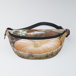 Fresh pumpkin in basket Fanny Pack