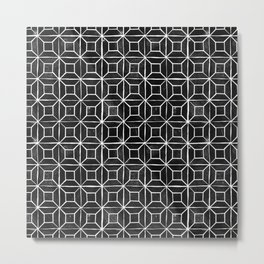Geometric Lino Printed Pattern Metal Print