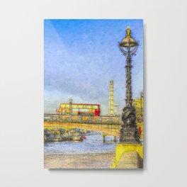 London Bus and London Eye Watercolour Metal Print