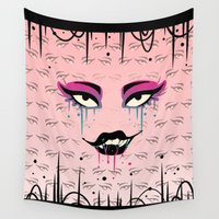 fierce Wall Tapestries featuring Fierce Stare by Squidbiscuit