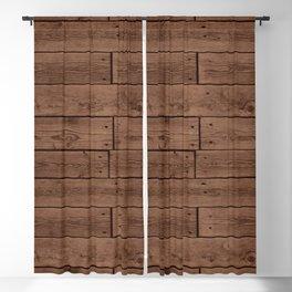 Reclaimed Floorboards Wood Pattern Blackout Curtain