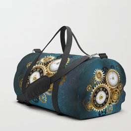 Two Steampunk Clocks with Gears Duffle Bag