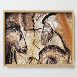Facing Horses // Chauvet Cave Art Serving Tray