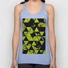 Splatter Triangles In Black And Yellow Unisex Tank Top