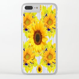 Yellow Sunflowers Pattern in Black-Blue Clear iPhone Case