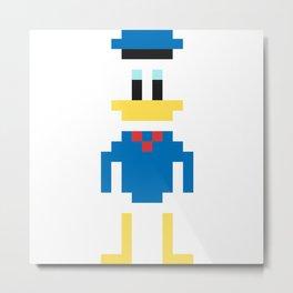 Donald Duck Pixel Character Metal Print