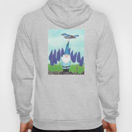 gnome with cerulean warbler and grape hyacinths Hoody