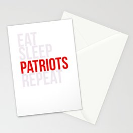 Eat Sleep Patriots Repeat Football Fan Stationery Cards