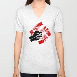 Obliterate Hate (women; black & red) Unisex V-Neck