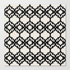 Lattice Stars in Black and Ivory Canvas Print
